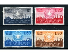 1956 - REPUBBLICA - 10° ANNIVERSARIO REPUBBLICA 4v.- NUOVI