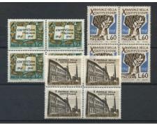 1958 - LOTTO/6330Q - REPUBBLICA - COSTITUZIONE 3v. - QUARTINE NUOVI