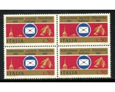 1969 - LOTTO/6520Q - REPUBBLICA- SOCIETA' FILATELICHE - QUARTINA NUOVI