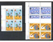 1983 - LOTTO/6802Q - REPUBBLICA - GIORNATA FRANCOBOLLO 3v. - QUARTINE NUOVI