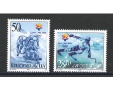 2002 - JUGOSLAVIA - OLIMPIADI DI  SALT LAKE CITY  2v. - NUOVI - LOTTO/35565