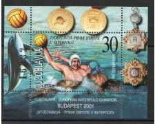 2001 - JUGOSLAVIA - PALLANUOTO MASCHILE - FOGLIETTO - NUOVO - LOTTO/35553