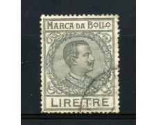 1920/26 - REGNO - MARCA DA BOLLO DA 3 LIRE GRIGIO - LOTTO/32457