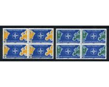 1959 - LOTTO/6346Q - REPUBBLICA - DECENNALE N.A.T.O 2v. - QUARTINE NUOVI