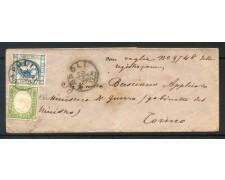 1863 - REGNO - BUSTA DA NAPOLI A TORINO CON 15 CENT.EFFIGIE PIU' 5 CENT. SARDEGNA - LOTTO/30682
