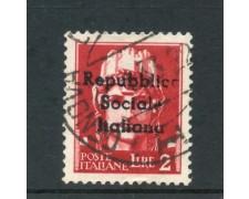 1944 - REPUBBLICA SOCIALE - 2 LIRE SOVRASTAMPA REPUBBLICA SOCIALE  DI TERAMO - USATO - LOTTO/30686
