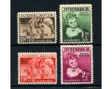 1938  YUGOSLAVIA - A PROFITTO INFANZIA SOPRASTAMPATI 4v. - LINGUELLATI